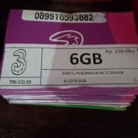 KARTU PERDANA THREE AON KUOTA 6GB/PERDANA KUOTA TRI 6GB KENCENG