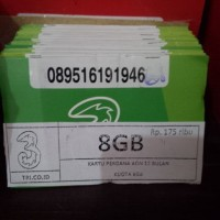KARTU PERDANA THREE AON KUOTA 8GB/PERDANA DATA TRI AKTIF 1TAHUN