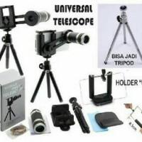 Universal LENSA TELEZOOM 8X + TRIPOD +  Holder Fullset