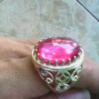 cincin batu merah siem jernih tembus natural ring motif perak