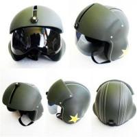 harga Helm Retro Clasik Pilot Kaca Ijo Army Tokopedia.com