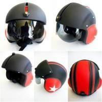 harga Helm Retro Pilot Kaca Merah Hitam Tokopedia.com