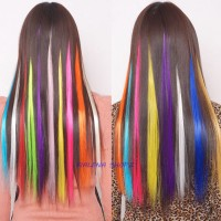 hairclip hair extension clip highlight rambut palsu warna warni unik