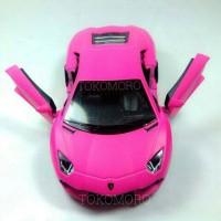 Lamborghini Aventador Magenta Pink Doff Diecast miniatur mobil kin