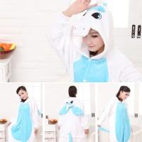 Pajamas / Piyama Jumpsuit Dewasa Plush Lembut Unicorn Biru