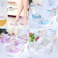 harga Sepatu Sandal Heel Wanita Korea Stud Pesta Jalan Ungu Putih Biru Impor Tokopedia.com