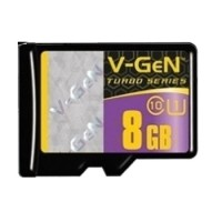 V-Gen 8 GB Turbo 80 mb/s Micro SDHC Card UHS-1 + SD Adapter Card