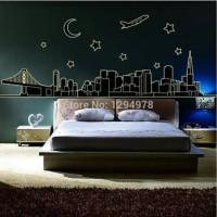 wall sticker 60x90/wall stiker GLOW IN THE DARK-ABQ9601 NIGHT CITY