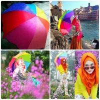 Payung Pelangi 3D Magic umbrella rainbow 3 Dimensi motif bunga-LOKO