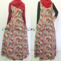 Gamis Federal Le Couture Motif Bunga Vintage Merah Maroon