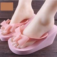 harga Cute Korean Slippers Wedges Sandal Sendal Pink Soft Hitam Black Shoes Tokopedia.com
