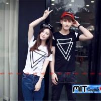 harga Baju Couple Double Triangle (cowo Hitam, Cewe Putih) Tokopedia.com
