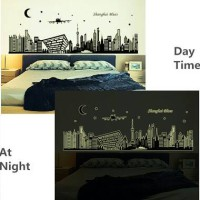 Jual wall sticker 60x90/wall stiker GLOW IN THE DARK  ABQ9636 shanghai nigh Murah