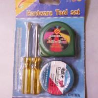 Hardware Tool Set - Obeng Kecil, Meteran, Isolasi Hitam / PVC