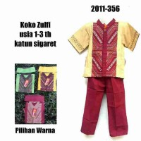 Setelan Koko Zulfi 3in1 (Koko Bordir Peci Celana katun)