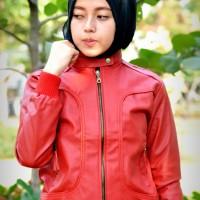 Jaket Semi Kulit Ladies Merah