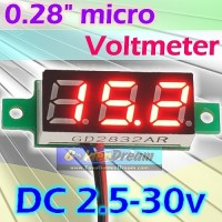 "Micro Voltmeter 2.5-30V DC 0.28"" 2 Wire Volt meter Digital Tegangan"