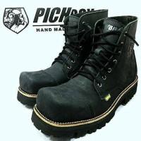 Sepatu Pichboy  Boot Under Ground Musik Rock Touring Motor Hitam Black