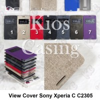 Case Casing Sarung Flip View Cover Sony Xperia C C2305