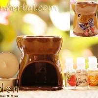 Paket Hemat Tungku Aroma Terapi - tungku, 4lilin, 10minyak aromaterapi
