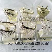 Grosir Ring / Emban Cincin Perak Malaysia / Cina Mata Jumbo