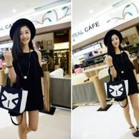 Tas Impor C90611 Black Leather Bag Fashion Korea Motif Emoticon Casual