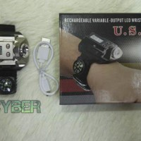 senter jam tangan digital police swat + kompas