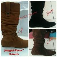 "Sepatu  Boot Jenggel Kerut"" Cewe Datar / Nabato Shoes"