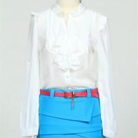 harga Blouse skirt dress white blue chiffon cotton belt baju gaun rok sabuk Tokopedia.com
