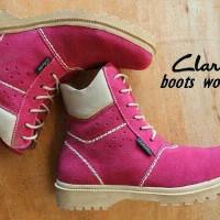 harga Sepatu Boots Clarks Women Leather Pink Tokopedia.com