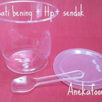 Gelas puding merpati bening + tutup + sendok