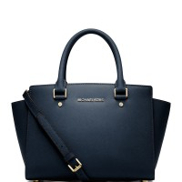 Michael Kors Large Selma Patent Saffiano Leather Satchel - Navy