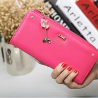 Dompet Wanita Cewek Import Korea - Zipper Wallet HOT PINK