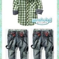Baby Suspender Senshukei 3-in-1 kotak hijau 6-9-12-18 bulan