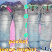 Sale Jeans Anak Import Pocket Grey Keren Ukuran 5 Tahun Murah