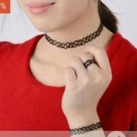 tatto choker double strands murah 1 set ( kalung , gelang , cincin )