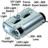 Mikroskop 60x zoom mini ||Kaca pembesar batu cincin KODE 9592