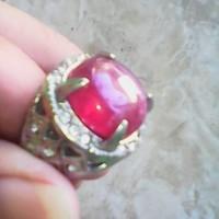 cincin batu ruby merah fanta natural halus tembus ring sirkon