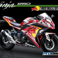 Decal Modifikasi Ninja 250 FI Motif REDBUL PROSTIKER