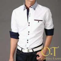 baju kemeja pria lengan panjang putih (vincent white)