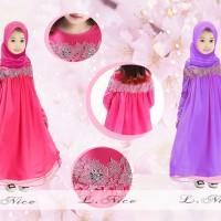 baju muslim set gamis jilbab anak perempuan l nice