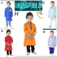 baju muslim set koko kids anak merah orange biru m
