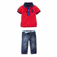 baju setelan anak jeans red polo merah krah celana
