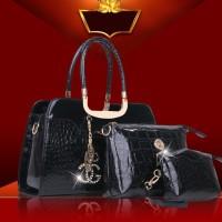 TAS HITAM 3IN1 GLOSSY KILAU WANITA IMPORT KEREN FASHION HAND BAG KULIT