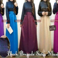 Muslimah Maxi dress Online Murah Black Brocade Satin Maxi