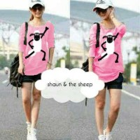 kaos wanita shaun the sheep lengan panjang (blouse cute sheep pink MV)