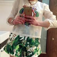 SJ7LZSD Blouse Atasan Putih Gauze + Celana Pendek Motif Bunga #Setelan