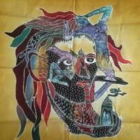 Lukisan Batik Tulis Asli Motif kepala kombinasi kuning