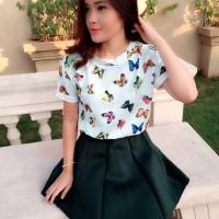 Kaos Baju Fashion Wanita Shirt Kemeja Blouse Atasan Korea New 2015162