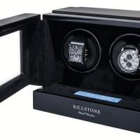 BillStone Paragon - 2 Watch Winder - Macassar Wood, Black Suede